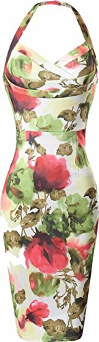 jeansian Donna Retro Fascino Elegante Sottile Noble Fiori Abito Gonna Pencil Dress WKD285 Multicolor S