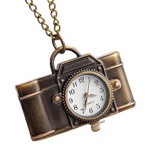 Rryilong Taschenuhr, Quarz, Vintage, Kamera-Form, kreativ, Mini-Kette, tragbar, Charme, Frauen, Halskette, Anhänger, Bronze, Ornament, Geschenke, Antike Steampunk -
