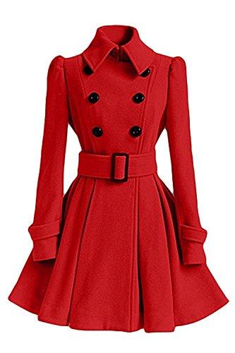Minetom Femme Hiver Manches Longues Coton Manteau De Veste De Manteau D'hiver Parka Coat College Jacket (FR 36, Rouge)