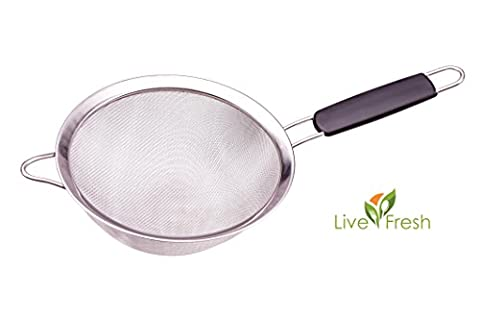 LiveFresh Premium Quality Fine Mesh Stainless Steel Strainer Colander - 19 CM - Sift, Sieve & Strain Quinoa, Rice, Flour, Pasta and More with the Strongest and Most Reliable Large Sieve Available - SAVE 55+%