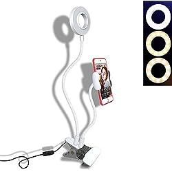 BNT Supporto per telefono cellulare con anello luminoso Selfie per streaming live e kit luminoso 3 luci per fotocamera LED Flash per smartphone Lazy Universal (supporto per live stand-2 con supporto S
