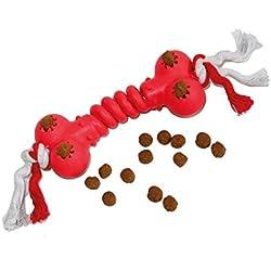 Hueso portapremio de goma con cuerda- Juego elástico con agujeros para premios