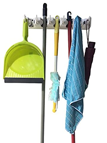 Mop and Broom Holder-Premium quality tool Rack Organizer-Wall mounted 5 position with 6 hooks-Holds Up To 11 Tools like Mops , Brooms and Sport Equipment-Storage solution for Your Home,Closet, Garage and Shed.