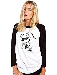HotScamp Tea Rex - Funny Dinosaur - Womens Baseball Top
