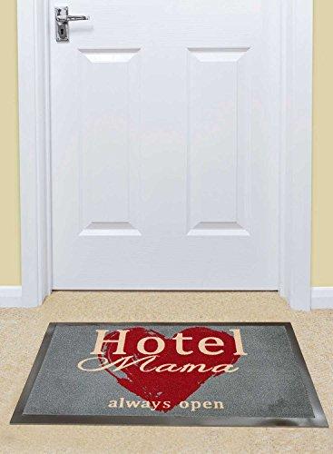 Teppich Fußmatte antipoussiere Hotel Mama always open Undefined von unamourdetapis, grau, 45 x 75 cm
