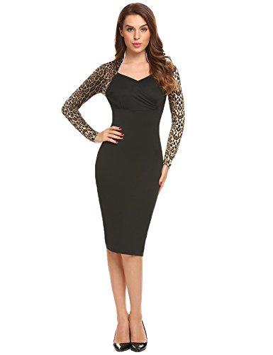 Meaneor - Vestido - Estuche - para Mujer Leopardo M