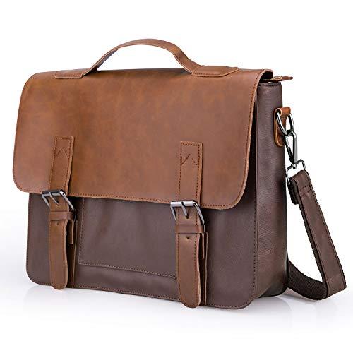 Often Aktentasche Herren Premium Ledertasche Bürotasche Umhängetasche Handtasche Laptoptasche 14 Zoll Lehrertasche Wasserdichte Schultertasche Businesstasche Messenger Bag - Hellbraun -
