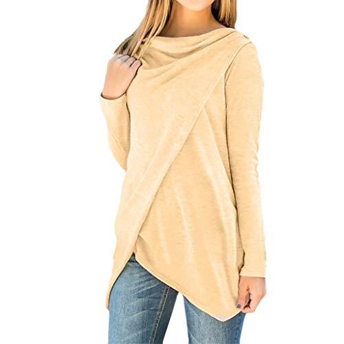 Felpa alla moda,ningsun donne colore puro camicia irregolare pulsanti felpa manica lunga maglietta camicetta t-shirt casual pullover sweatshirt camicia irregolare giubbino forti cappotto(coffee,2xl)