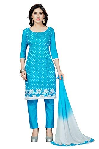 Rani Saahiba Embroidered Cotton Dress Material( DSK294_Light Blue )