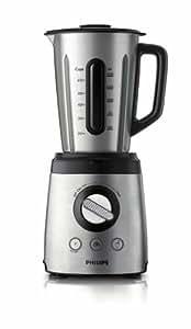 Philips HR2097/00 Blender Avance, alu brossé, 800W, Bol métal design spécial 2L, 6 lames, glace pilée, pulse, smoothie, spatule pour mélanger