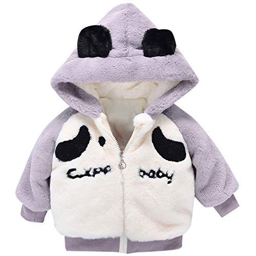 FeiliandaJJ Baby Mantel Mädchen,Toddler Kinder Winter Fleece Mit Kapuze Baumwolle gefütterte Coat Plus Samt Verdicken Outwear Jacken Kids Warme Kleidung 18~24Monate (80 (6~12Monate), Grau) -
