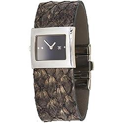 Roberto Cavalli Reloj Moda Piel De Serpiente Dark Brown