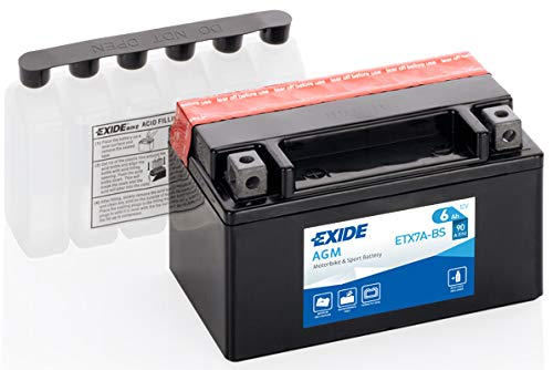 Batteria moto EXIDE ETX7A-BS 6AH YTX7A-BS 90N dimensioni 150X87X95
