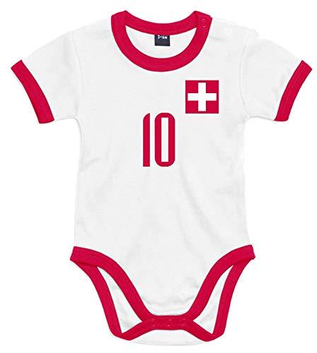 nationshirt Baby Body Schweiz Trikot Look - Jersey Bodysuit Ringer T-Shirt - No.10 BR (3/6 M)