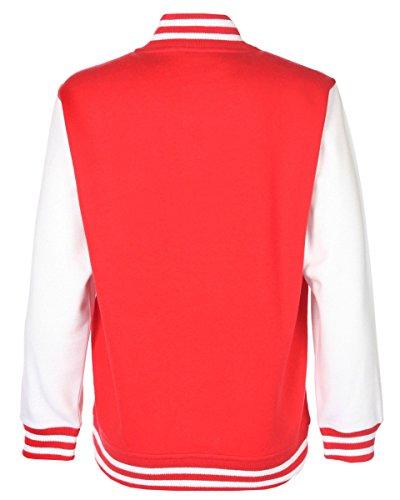rsity Jacke Kinder Baseball Schule Kontrast Ärmel Sweatshirt 9-10,- Fire Red/White (Varsity Jacken Kinder)