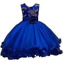 LSERVER-Flor vestido de los niñas para las fiestas en primavera u otoño, Azul