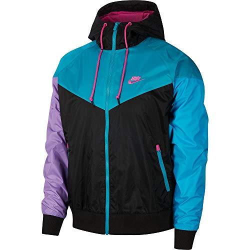 Nike Herren M NSW HE WR JKT HD Jacket Black/Spirit Teal/Active Fuchs, M