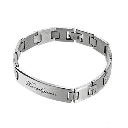 Bracciale in acciaio inox con effetto polarizzato, argento con incisione – bracciale in acciaio inox lucido – gioiello da uomo – idea regalo per compleanno, san valentino – con custodia regalo