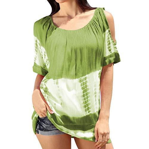 Amphia - Damen Schulterfreie Shirt Oberteil - Frauen O-Ausschnitt Kurzarm kalte Schulter Tie-Dye Print Color Block Top -