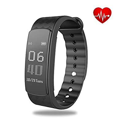Heart Rate Monitor Fitness Tracker,SHONCO Waterproof Bluetooth Activity Tracker Smart Bracelet Wristband Band with Health Sleep Monitor Sports Pedometer for iOS and Android Smartphones by SHONCO