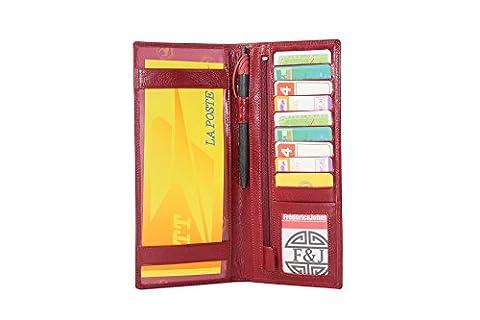 Frédéric&Johns ® - Porte chéquier long pour femme en cuir de vachette véritable - Porte carte de crédit en cuir - porte monnaie avec fermeture zippée - Haut de gamme - Nouvelle collection (Rouge)