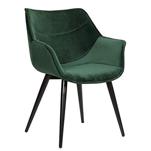 WOLTU Esszimmerstühle BH146gn-1 1x Küchenstuhl Wohnzimmerstuhl Polsterstuhl mit Armlehen Design Stuhl Samt Metall Grün