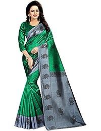 Green Color Artsilk Saree With Green Color Blouse Material