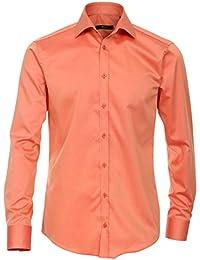 Venti Hemd Koralle Uni Twill Langarm Slim Fit Tailliert Kentkragen 100% Feinste  Baumwolle Popeline Bügelfrei 6cbf587c5c