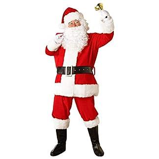 5 Unids Adulto Traje de Papá Noel Traje de Papá Noel de Navidad Velvet Deluxe Faux Fur Fancy Dress Trajes de Hombre Juegos de rol Festivos Trajes de Cosplay
