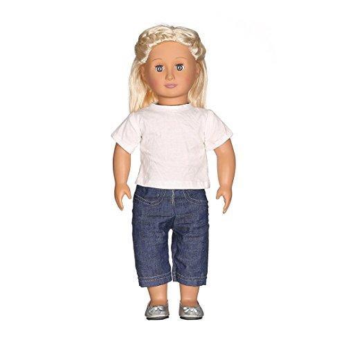Baby-puppe Shirt (Baby Puppe Kleidung SET 45,7cm T-Shirt + Jeans, Mädchen Jungen Kleinkind Best Baby Puppe Spielzeug Geschenk vneirw, weiß)