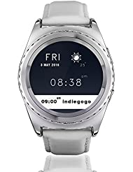 Jiazy Bluetooth Round Touch Screen Smartwatch with SIM Card and TF Card Slot with Sleep Monitor, Heart Rate Monitor and Pedometer for Antroid Sumsung HUAWEI(QR don't Surpport IOS) (Streifen-Leder-Streifen)