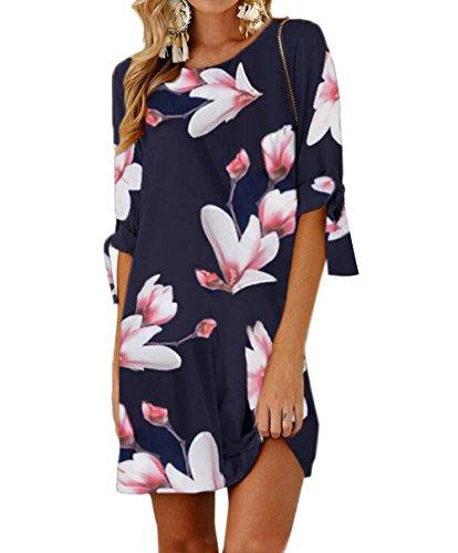 Ajpguot Sommerkleid Damen T-Shirt Kleid Rundhals Kurzarm Minikleid Blumen Strandkleider Langes Shirt Lose Tunika mit Bowknot Ärmeln (0884Marineblau, XL)