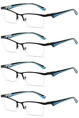 VEVESMUNDO® Lesebrillen Herren Damen Metall Klassische Federn-Scharnier HalbBrille Lesehilfe Augenoptik Arbeitsplatzbrille 1.0 1.5 2.0 2.5 3.0 3.5 4.0 (4 Stück Lesebrillen Schwarz und Blau, 1.0)
