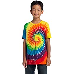 Port & Company Juventud Essential Tie-Dye camiseta Multicolor Arco Iris X-Small