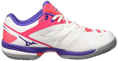 Mizuno Wave Dépasse Cc (w), Scarpe Da Tennis Donna Multicolore (blanc / Liberty / Divapink)