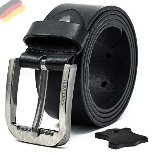 Premium Echt Ledergürtel Herren schwarz mit Geschenk Box Made in Germany Breite 3,8 cm 100% Rindsleder Leder Gürtel M19s - Bundweite 100 -