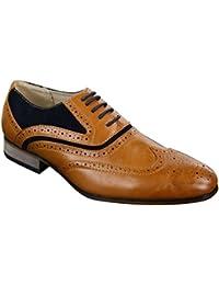 Chaussures homme cuir et daim style brogue vintage Gatsby marron bleu marine