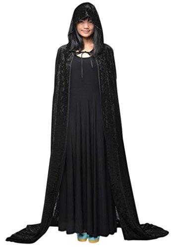 Cabo de Halloween Poncho con capucha con el vestido de la bruja de la capilla larga de Cosplay del traje de diablo medieval Escudo de maquillaje mujer del hombre del traje unisex cabo Príncipe y la princesa de adultos-Negro