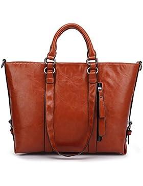 DcSpring Damen Handtasche PU Leder Ledertascher Klassische Umhängetasche Reißverschluss Schultertasche Tote Bag