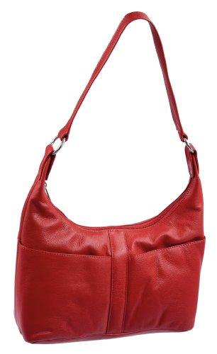 Borsellino da donna LEMONDO, Vera Pelle, 33x24x13cm Rosso