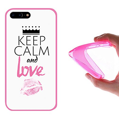iPhone 7 Plus Hülle, WoowCase Handyhülle Silikon für [ iPhone 7 Plus ] Astronaut Herz - I Love To the Moon And Back Handytasche Handy Cover Case Schutzhülle Flexible TPU - Transparent Housse Gel iPhone 7 Plus Rosa D0332