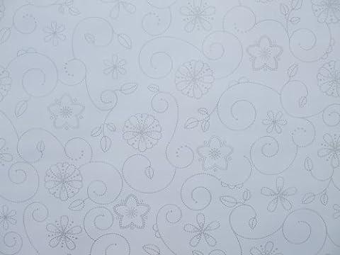 140x 250cm Nappe ovale en PVC/vinyle–Blanc avec Argent Design tourbillon