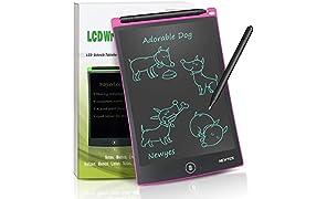 NEWYES NYWT850-8,5 Pulgadas Tableta gráfica portátil y Pizarra Resistente, Tableta de Dibujo Adecuada para el hogar, Escuela, Oficina, Cuaderno de Notas, 1 año de garantía (Rosa)