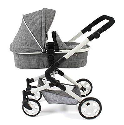 Bayer Chic 2000 597 76 3-in1 Kombi Lia, Puppenwagen-Set mit Autositz, Babywanne und Sportsitz, Jeans Grey