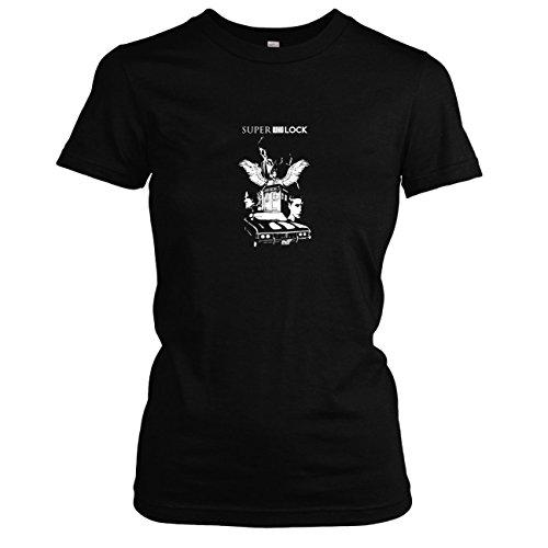 TEXLAB - Super Who Lock - Damen T-Shirt, Größe L, schwarz (Tardis Kostüm Box)