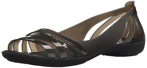 crocs Damen Isabella Huarache Ii Flat Women Peeptoe Ballerinas, Schwarz (Black/Black 060), 34/35 EU (Flats Shoes Damen Peep-toe)