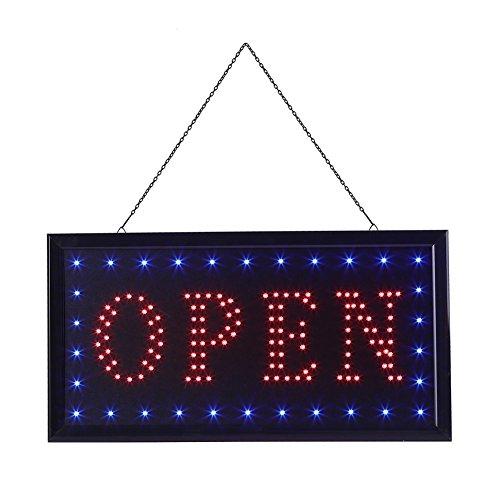 Neon Light, 1pc Große Helle LED Shop Schild Neonlicht Fenster Tür Hängen Zeichen Geoffnet Leucht-Schild Neon Beleuchtung für Kinderzimmer Dekorationen Geburtstag Party Wohnzimmer Hochzeit (Platz Open) (Hochzeit Bar Open Der An)