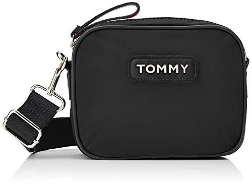 Tommy Hilfiger Damen Varsity Nlyon Crossover Umhängetasche, Schwarz (Black) 21x6x16 cm