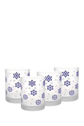 Culver Frosted Snowflake DOF Double Old Fashion Glass (Set of 4), 14 oz, Blue by Culver Frosted Old Fashion Set
