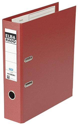 ELBA Kunststoff-Ordner rado plast 8 cm breit DIN A4 rot mit Einsteckrückenschild Ringordner Aktenordner Briefordner Büroordner Plastikordner Schlitzordner